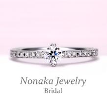 NONAKA JEWELRY(ノナカジュエリー)_ハート型の爪が個性的!細めのフレームにメレーダイアを一列に配置した上品なリング