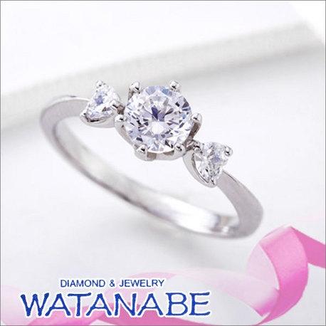 WATANABE/卸商社直営 渡辺:[WATANABE]ハート&ハート ハートシェイプダイヤを両側に贅沢にセット