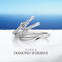 銀座ダイヤモンドシライシ:女性用のマリッジのダイヤ3石は、蝶々結びのリボンの輪を表現【レガーレ】