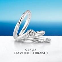 銀座ダイヤモンドシライシ:レディースには滑らかなメレダイヤのライン、メンズにはつや消し【ブルーミン】