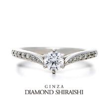 銀座ダイヤモンドシライシ_羽のように繊細で立体感のある婚約指輪【プリュマージュ チェリッシュ】