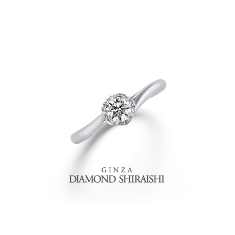 銀座ダイヤモンドシライシ:10石ものメレダイヤで、センターダイヤを一回り大きく見せる【ブルーミン】