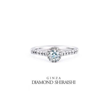 銀座ダイヤモンドシライシ:取り巻いているメレダイヤとセンターダイヤで丸いブーケを表現【ブーケ<A枠>】