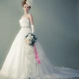 アンジェリ:シルクオーガンジィのドレープコサージュAラインドレス