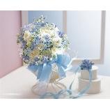 Bouquet DECO:20,520円【通常の半額!】「生花も造花も大人気☆」DECOブルーリボンブーケ
