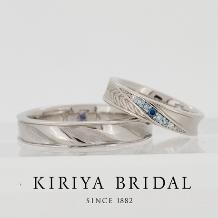 KIRIYA BRIDAL (宝石の桐屋)_月桂樹のリングと斜めストライプのリング【オリジナルオーダーメイドリング】