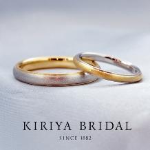 KIRIYA BRIDAL (宝石の桐屋)_こだわりの鍛造リング:プラチナ&ゴールドのコンビリング