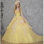 Wedding Costume HIROTA●HIROTAグループ:■桂由美■ チュール素材が品の良さを引き立てる!幸せ感溢れるレモンイエロードレス
