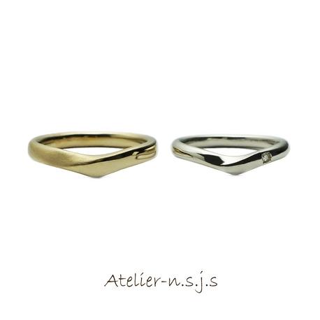 アトリエn.s.j.s (エヌ・エス・ジェイ・エス):◆着け心地重視◆ Vラインが美しいリング