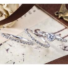 パルテ熊本_○*。結婚指輪と重ねづけ☆クラシカルな女性らしさを演出するセットリング○*。