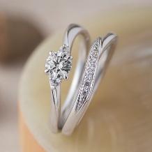 パルテ熊本_○*。4本爪のウェーブデザイン*サイドには2石のメレダイヤが輝く人気デザイン○。