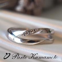 Parte Kumamoto_【人気の鍛造製法】指を綺麗にみせるウェーブライン★婚約指輪との重ね付けもピッタリ
