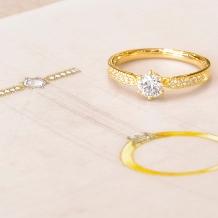 Tezuka jewelry Bridal_イエローゴールドのアンティーク風エンゲージリング*。★