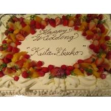 Blue Garden(ブルーガーデン):特大ケーキに2人の名前を書いて♪