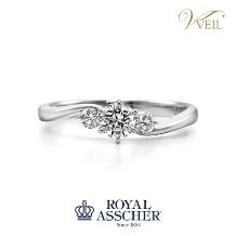 VEIL(ヴェール)●ジュエリーカジタ_【VEIL婚約指輪人気No.1】ロイヤル・アッシャー/ダイヤの華やかな輝きを堪能