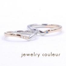 手づくり指輪工房 jewelry couleur(ジュエリークルール)_婚約指輪との重ね付け◆洒落た色使いの結婚指輪_071