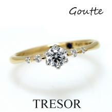 TRESOR (トレゾア)_Goutte しずく 暖かい雰囲気とダイヤのラグジュアリーな輝を併せ持った指輪