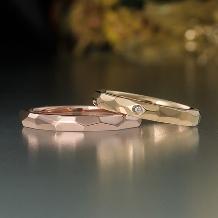 結婚指輪手作り.com:結婚指輪手作り.com(ピンクゴールドとイエローゴールドの多面体リング)