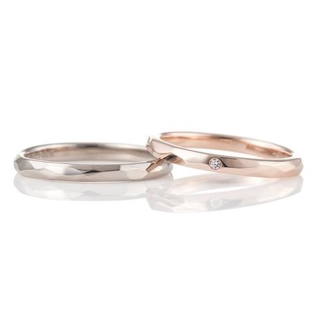 結婚指輪手作り.com enishi:enishi手作り結婚指輪工房(ホワイトゴールドとピンクゴールドの槌目)