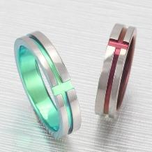 クラフト金澤_デザインNo4【ティタニオ】4.5ミリ幅にクロスラインのリング。カラーが選べます