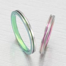 クラフト金澤_デザインNo1【ティタニオ】2ミリ幅で細身のリングにラインカラーが選べます!