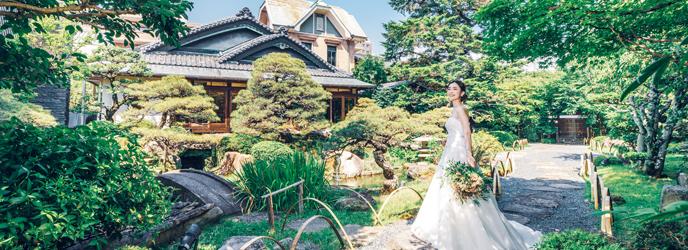 三瀧荘 一面の窓から日本庭園を臨むパーティー会場画像1-1