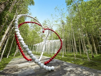 軽井沢ニューアート ウェディング 風通る白樺と苔の森チャペル:オトニエル氏によるハートのオブジェがより一層温かい気持ちで包んでくれる。