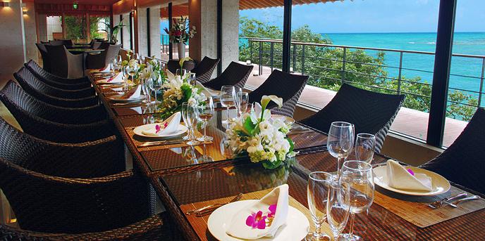 百名伽藍(GARAN WEDDING):充足に満ち溢れる空間でのもてなしは、島の恵みをふんだんに盛り込んだ旬を彩る創作料理で