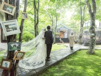 旧軽井沢ホテル:木漏れ日が降りそそぐ「旧軽井沢ホテル」の中庭の森は、ふたりとゲストとの想いが分かち合える特別な場所