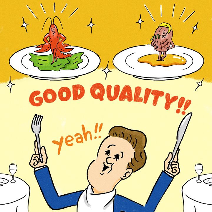 豪華な婚礼料理を食べる男性