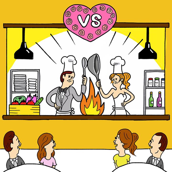 オープンキッチンをスタジアムに見立てて料理対決する新郎新婦
