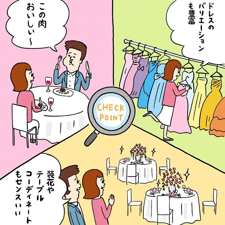 衣装、料理、装花をチェックしているカップル