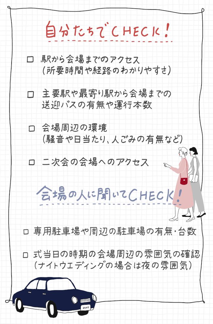 会場へのアクセスや周辺環境のチェックリスト