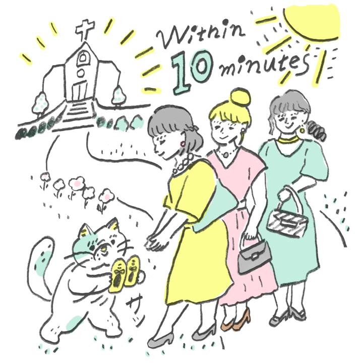 道を歩く女性ゲストに、ナビゲート役のネコが「ペタンコ靴」を手渡しているシーン