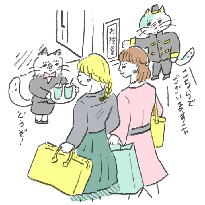 会場に到着したゲストを案内したり、ウエルカムドリンクを配るナビゲート役のネコたち