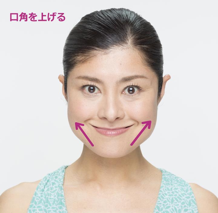 顔の表情を固定させたまま口を閉じて口角を挙げる