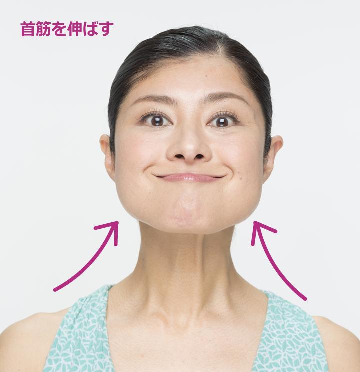 顔をキープしたまま首筋をぐっと伸ばす