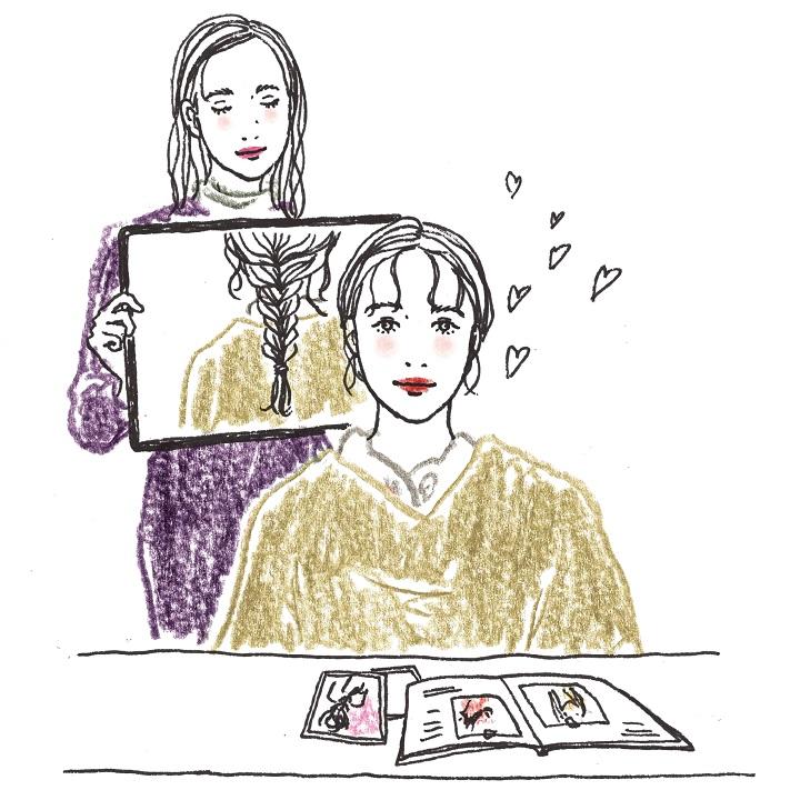 打ち合わせはヘアメイクリハーサルを兼ねることも。スタイルをつくりながら打ち合わせを。