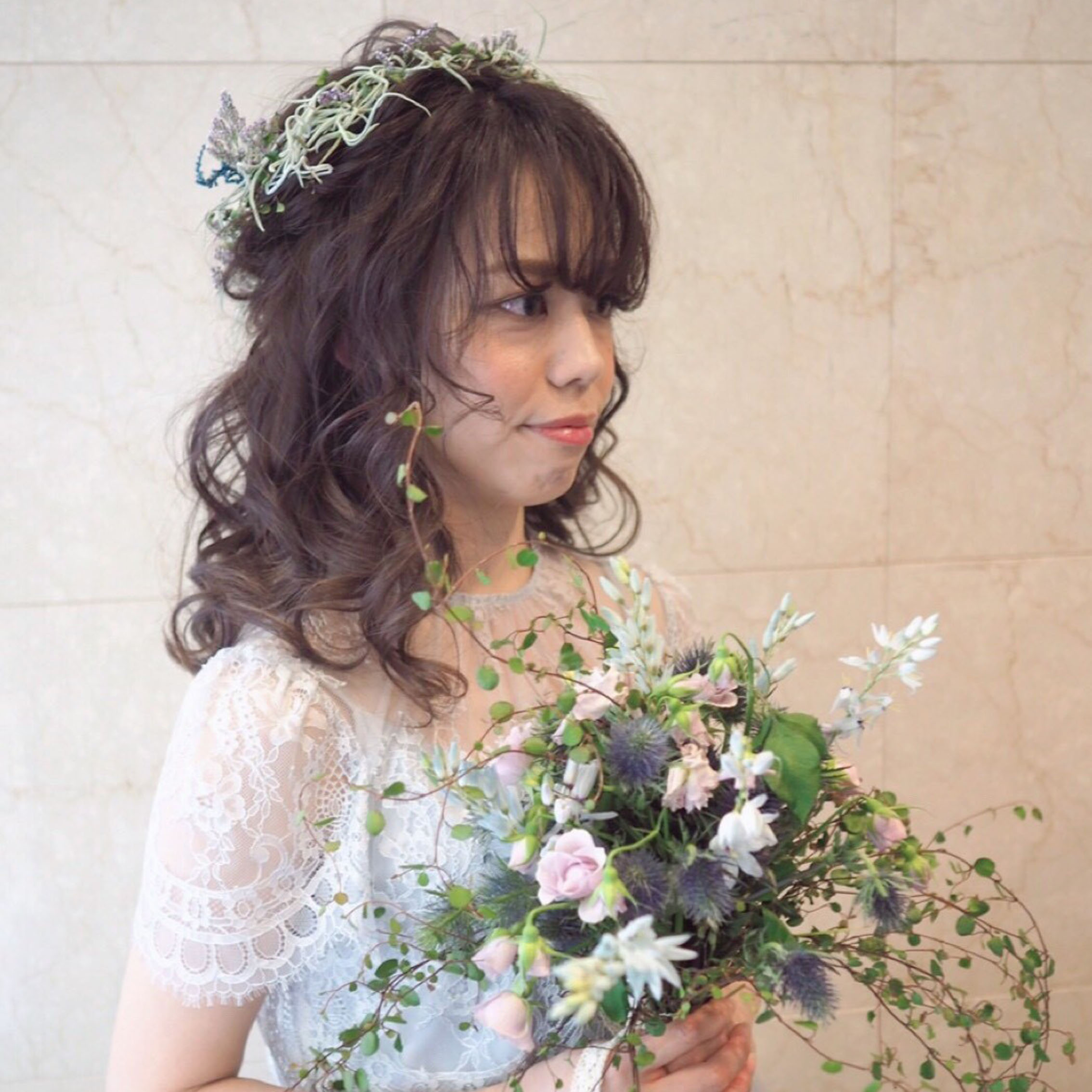 スモーキー花冠花嫁