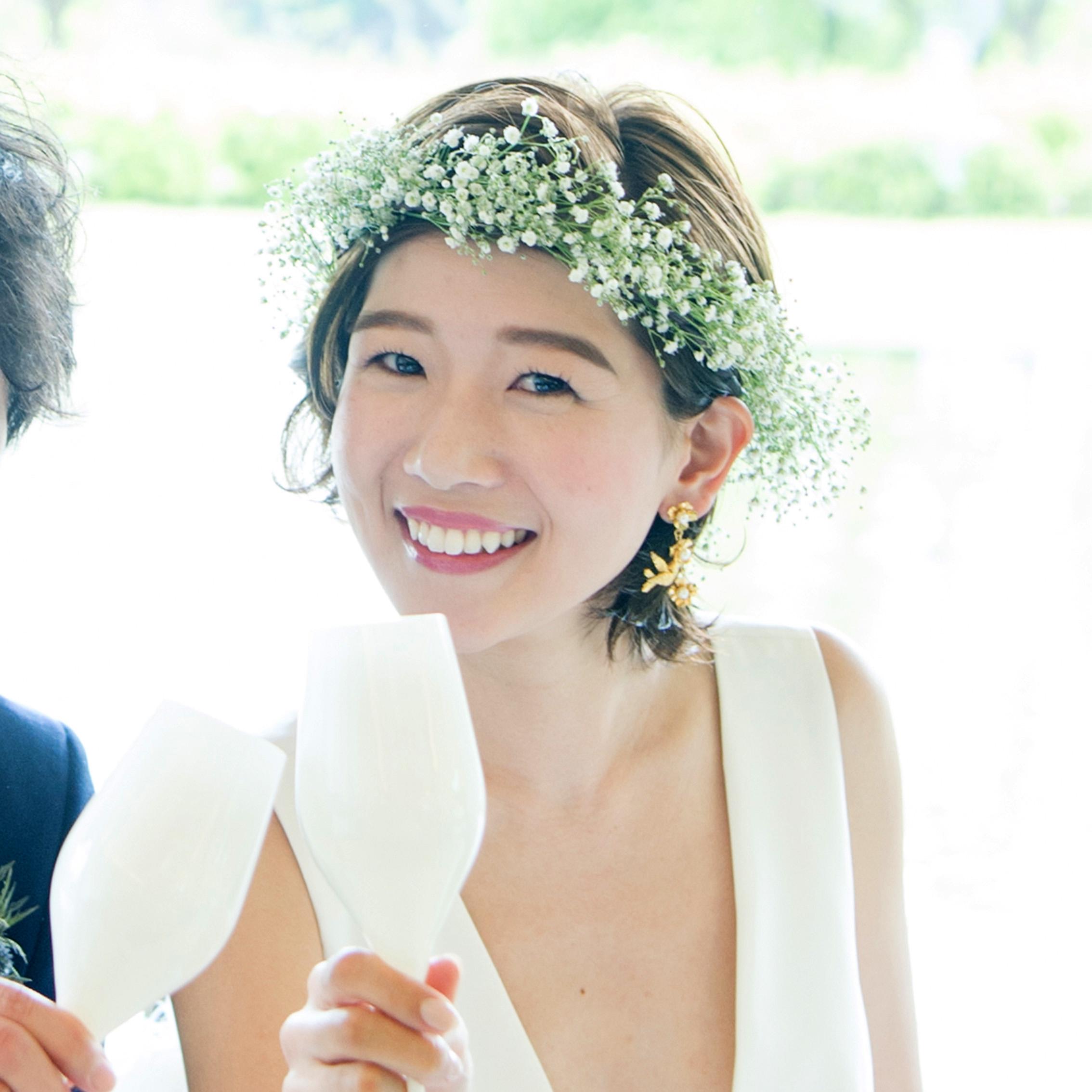 かすみそう花冠花嫁