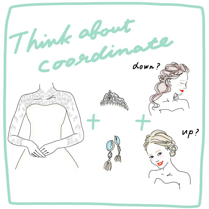 TIPS2 ドレスのネックデザインから考える 「例えば、クラシカルなハイネックタイプならアップヘアのほう映えます。ティアラや花飾りなどのヘアアクセサリーも同じなので、ヘアメイクとの打ち合わせまでに使い