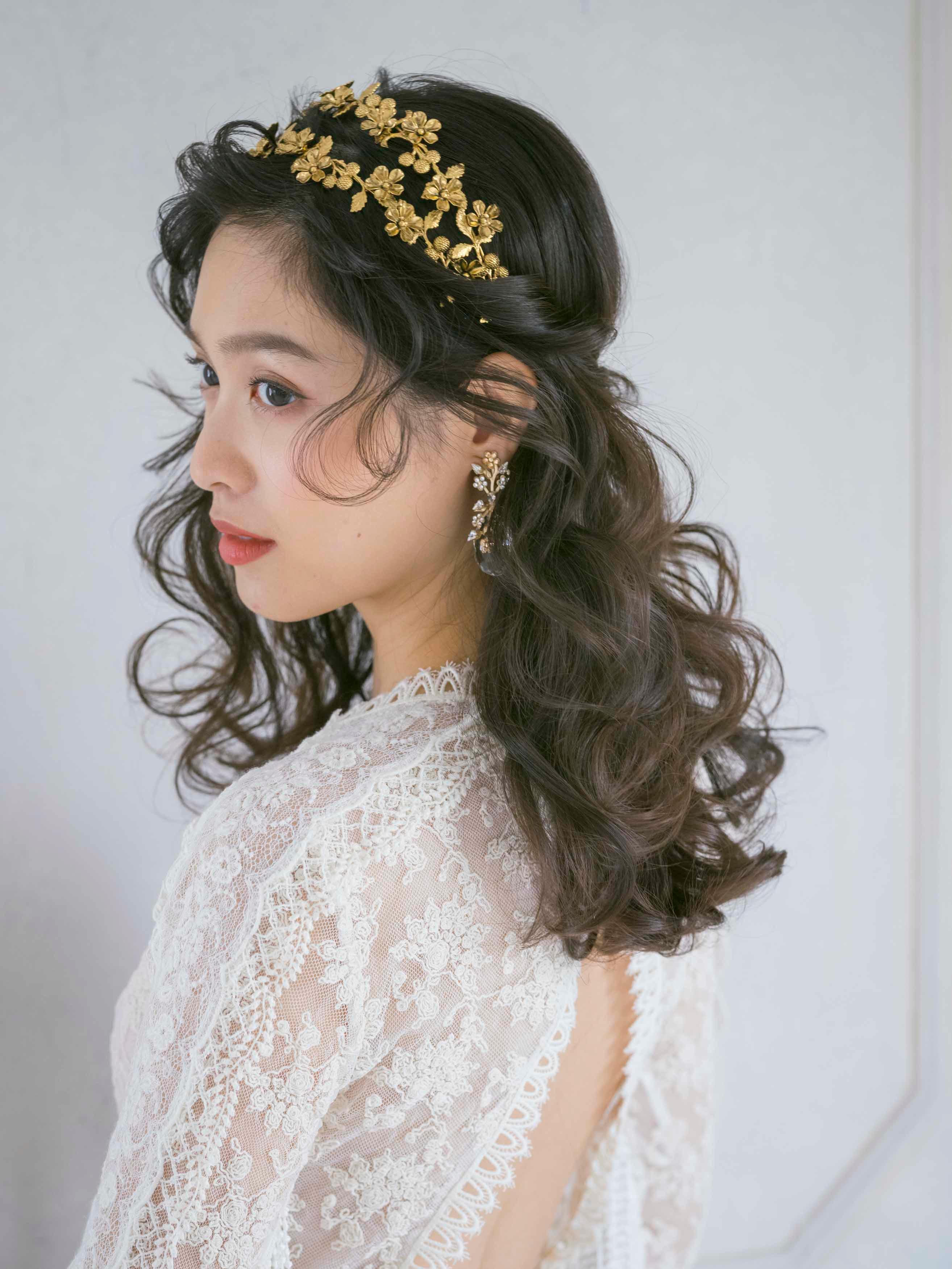 ハーフアップ 髪型 花嫁ヘア ブライダルヘア