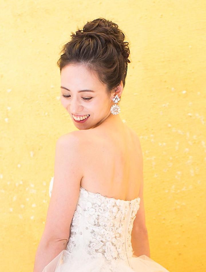 花嫁 髪型 前髪なし オールバック アップスタイル ロングヘア
