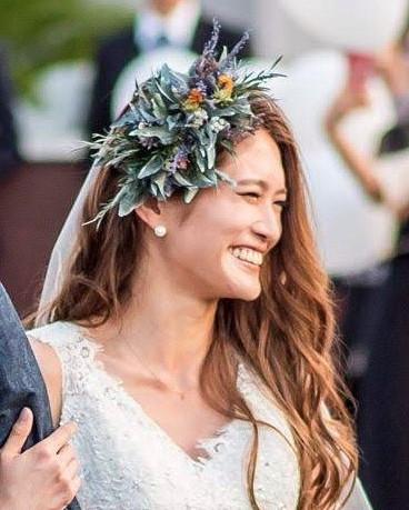 花嫁 髪型 前髪なし かき上げヘア ロングヘア