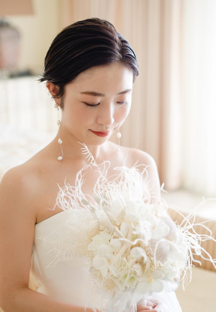 花嫁 紙型 前髪なし 黒髪 ショートヘア センターパーツ1