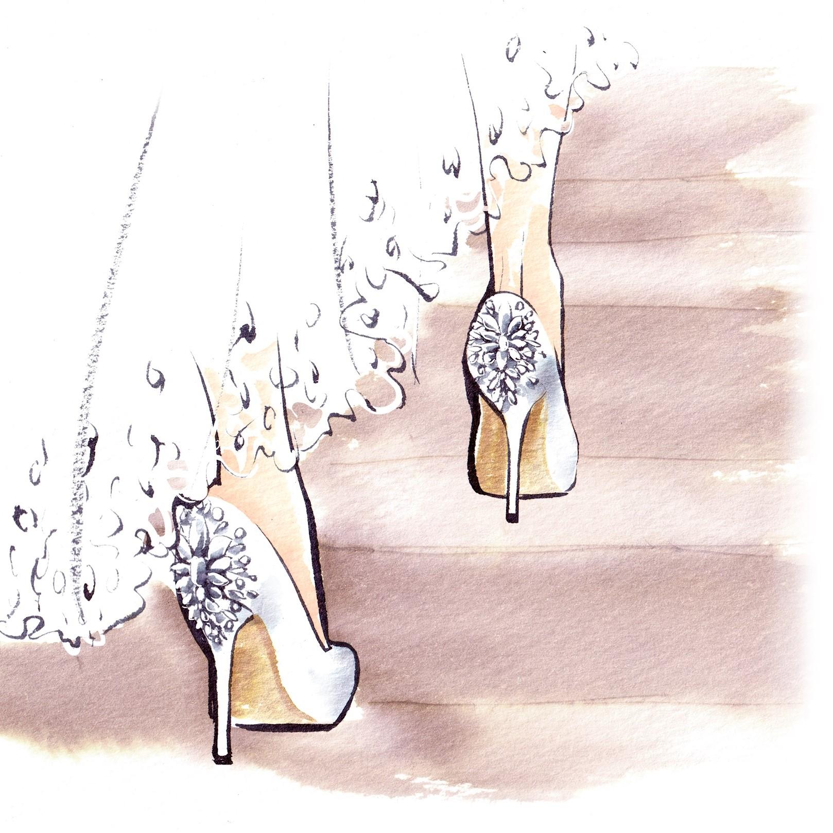 かかとにビジューがあしらわれたシューズを履いた花嫁の足元のイラストです。