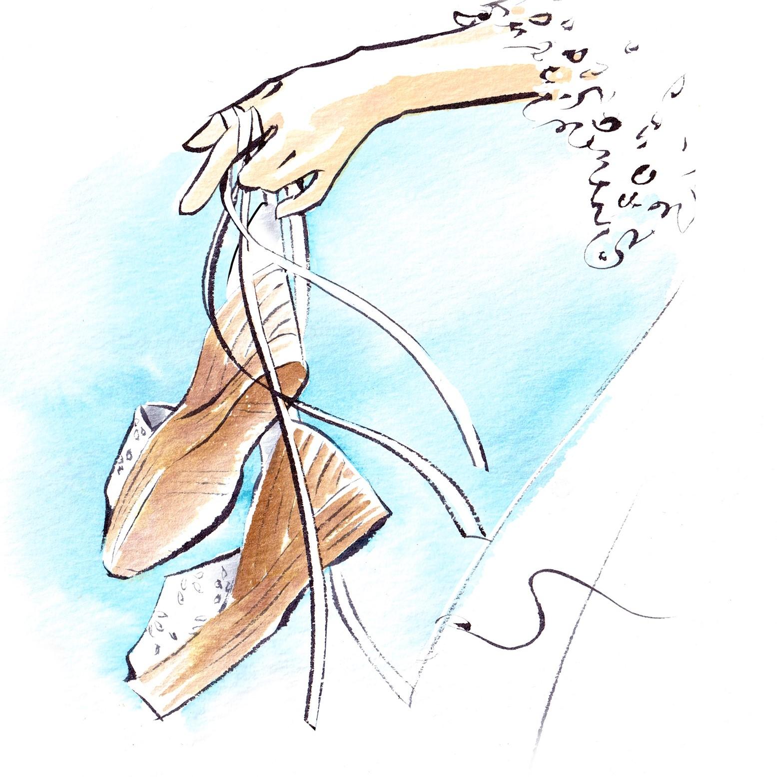 ウエッジソールサンダルを持った花嫁のイラストです