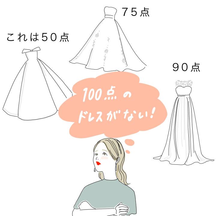 100点のドレスがなくて悩む花嫁