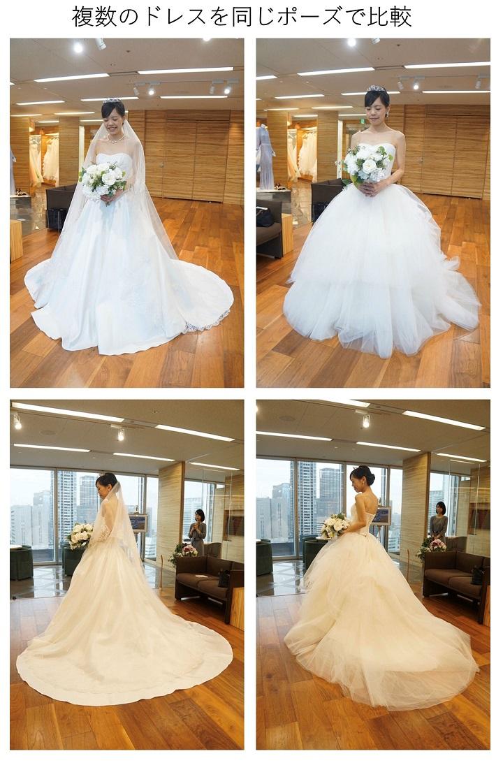 同じポーズで2つのドレスを撮った写真