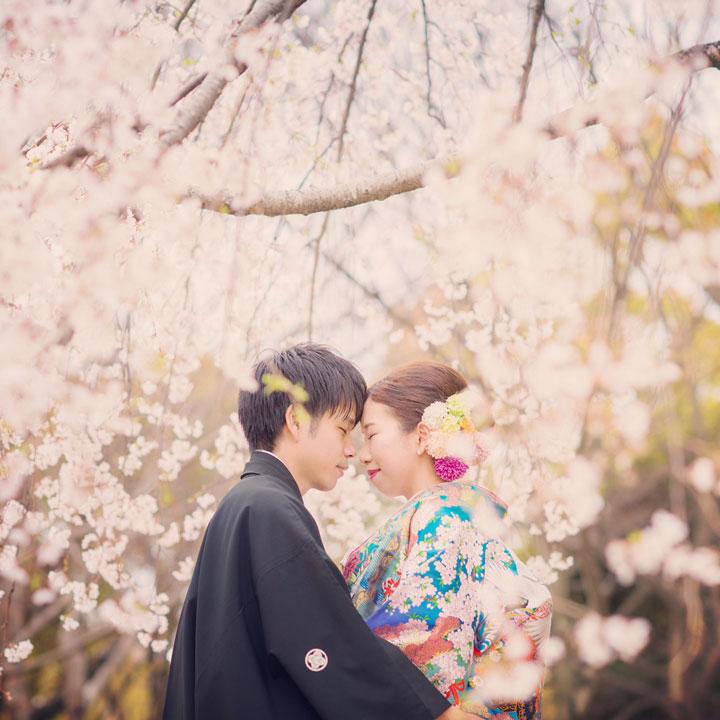 ピンク色のしだれ桜の下で、新郎新婦がおでこを寄せ合っています。